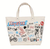 hot sale printed cotton canvas tote bag for shopping