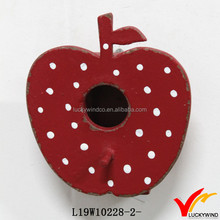 Shabby Red Decorative Painting Small Wooden Apple Bird House