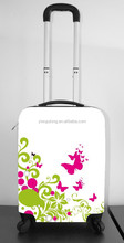 beautiful printing ABS+PC cabine size spinner trolley hard hand case