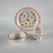 pink birthday cake and candy printed melamine kids dinnerware set for little cute girl