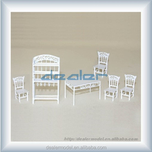 architectural scale model metal desk and chair/white plastic furniture models/miniature models