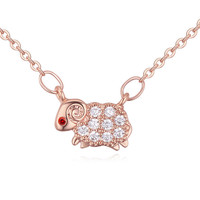 AAA zircon necklace of sheep shape necklace initial necklace of costume jewelry usa