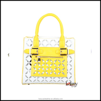 Fashion lady handbag yellow matching shoe and bag