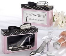 elegant fancy shoes bottle opener laser logo wedding gift high heel bottle opener