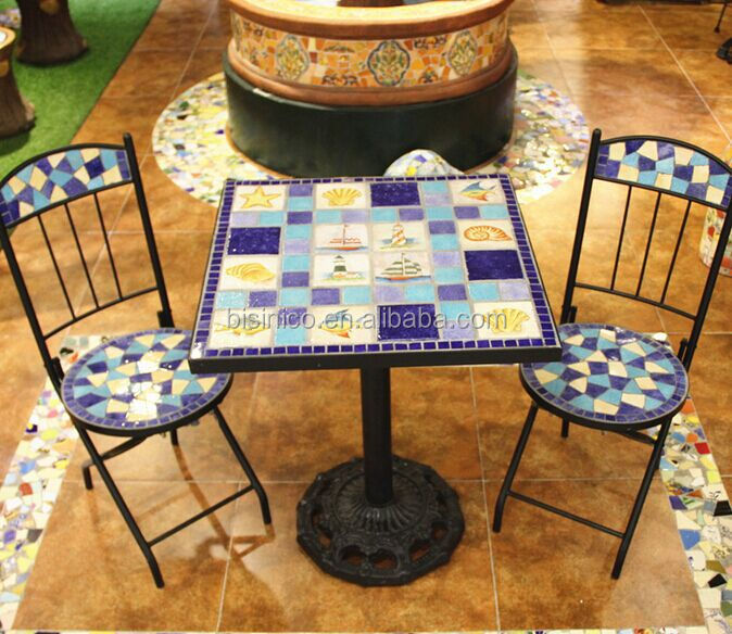 Mexique style jardin table manger et chaises ext rieur en fer forg et en c ramique mosa que - Table de jardin en fer forge mosaique montreuil ...