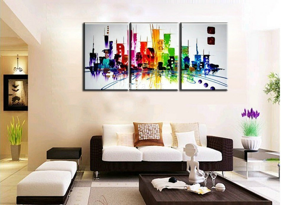 Buy Abstract modern 3 piece canvas wall art  hand painted Building Knife oil painting on canvas for living room pictures decoration cheap