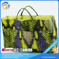 Large Vinyl Tote Bags with Snakeskin Pattern and Picture Pockets