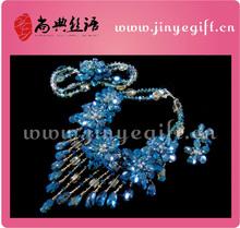 Asia joyas collares azules de cristal de circón conjunto de boda