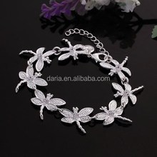 New Women 925 Sterling Silver Plated Cute Dragonfly Charm Chain Bracelet Jewelry