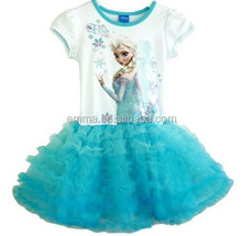 Fashion popular children girls lovely fancy dress blue elsa T shirts BC8213