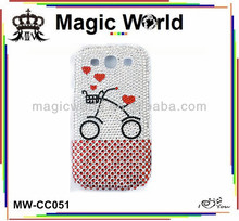 sweet bicycle full diamond cell phone case for samsung galaxy s3