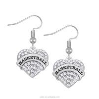Sports Women Jewelry BASKETBALL Pink Blue Clear Crystal Heart Pendant Drop Earrings