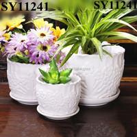 Pattern white indoor table ceramic pot wholesale