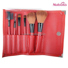 red 6pcs wholesales makeup brushes set