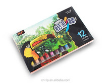 2015 new product water soluable oil pastel 12 colors in paper box oil pastel set