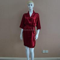 Burgundy sexy satin silk women pajamas
