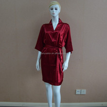 Satén de borgoña sexy mujeres pijamas de seda
