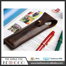 Real Leather Folded Single Custom Vintage Pen case , Drawing Pencil Case for Pen