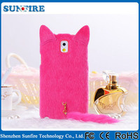 For Note 2 Korean Cute Soft Plush Cat Tail Phone Case For Samsung Galaxy Note 2