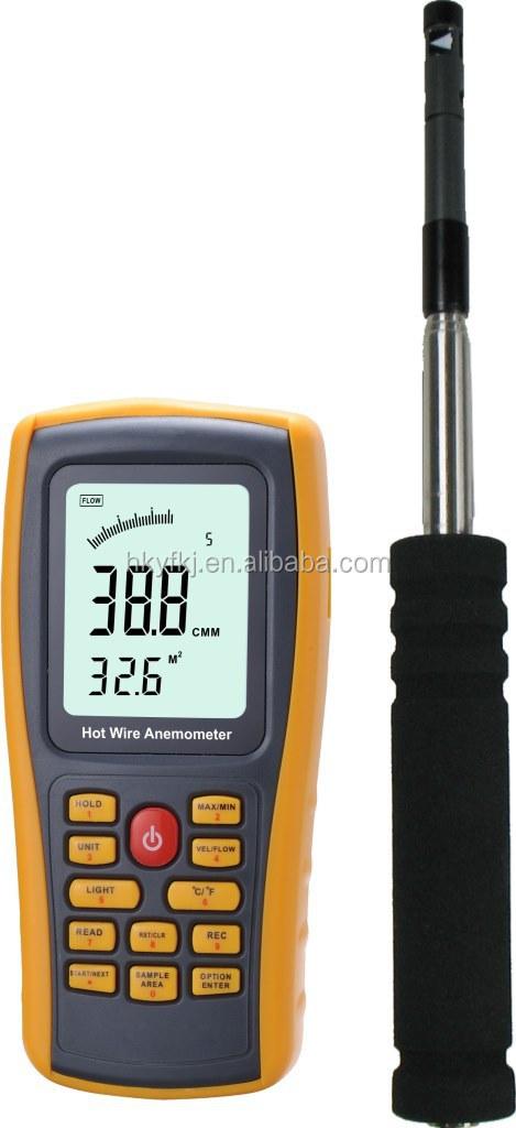 Précision industrielle vent fil chaud anémomètre data logger