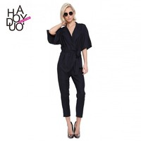 2015 Woman Navy Blue Half Sleeve Cool Jumpsuit with Belt Pockets V-neck Playsuits Rompers for Wholesale haoduoyi