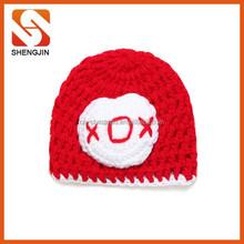 SJ-6318 Wholesale red kids caps crochet hat knitting wool baby handmade crochet pattern baby hats