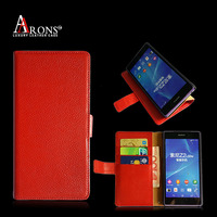 Top grain genuine leather cover wallet phone case for sony z3