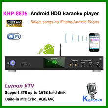 Android Hard drive ktv karaoke player with full HD 1080P, bulid-in Mic Echo AGC/AVC Support max 16TB HDD