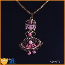 Latest design wholesale antique bronze color metal doll pendant necklace jewelry