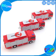 PVC thumb drive fire truck shape pen drive 8gb 16gb usb stick logo print