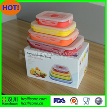 collapsible bento lunch box,foldable silicone food boxes, silicone collapsible lunch box