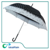 bowknots & dots white & black straight dome shape umbrella lady