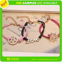 Top selling top sale korean wax gold love letter girls friendship bracelets