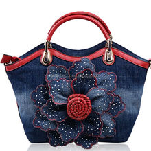 new arrival jeans handbag fashion wholesale brand women bags with flower