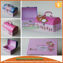 super quality paper cardboard suitcase box with handle