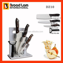 3pcs Perfect Kitchen Assortment Ceramic Knife set in wooden handle with+peeler +chopping plasitc board in acrylic knife stand