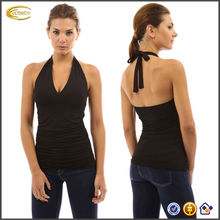 OEM wholesale Women's Halter V Neck Crossover Empire Waist Ruched Sides Casual lady top