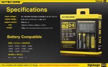 for 18650 lithium cell !High Quality Nitecore Digi D4 Charger Wholesale From Enook lifepo4 battery