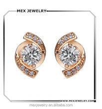 CZ diomand fashion cluster style fancy design rose gold stud earring