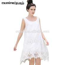 lunkuo diseño casual de algodón sin mangas de seda playa vestido de encaje blanco de tipo corto