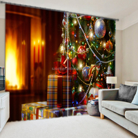 Hot New arrival elegant 3d digital printing christmas presents ready made window curtain for living room