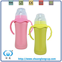 220ML 8 Oz Best BPA free Eco-friendly Stainless Steel Thermos Baby Feeding Bottle / Milk Warmer, Keep Warm - Pink