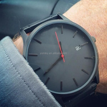 New custom matte black mvmt style genuine leather watch FASHION WATCHES