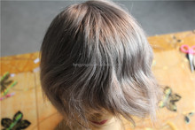 2015 hot sales 6inch length fine mono lace 85% synthetic grey hair mens toupee