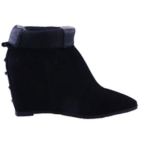 2015-16 ladies fashion ankle wedge heel suede elastic false ODM OEM winter boots shoes