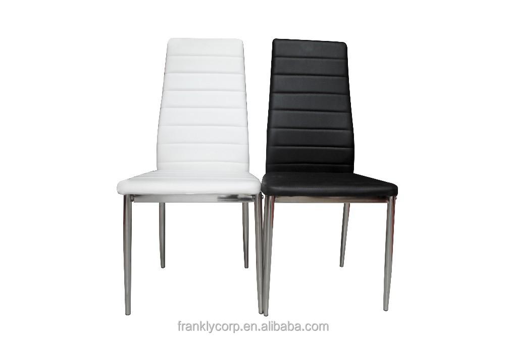 Chromed metal frame leather modern dining chairs buy for Dining chairs metal frame