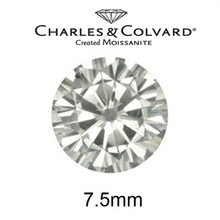 Certified 7.5mm Round Brilliant Cut Moissanite Loose Diamond For Sale Charles Colvard Brand