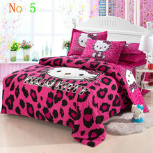Hot sale! 4pcs red hello Kitty bedding set queen/king/full size striped quilt cover set with red pattern bedsheet for kids