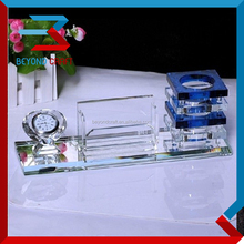Wholesale factory price crystal glass office stationary set with clock pen holder and card holder