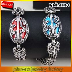 PRIMERO Bohemia Retro bangles Inlay Blue/Red Sapphire Crystal Fashion Women Hollow Guitar Notes Vintage Tibetan Silver Bracelets